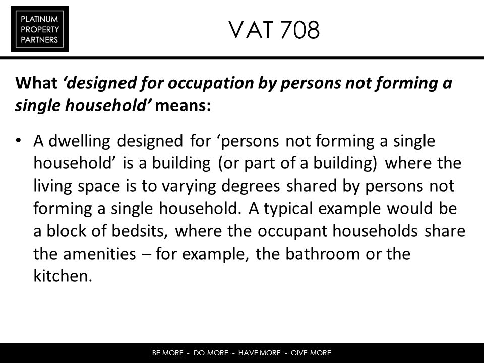 VAT 708 What 'designed for occupation by persons not forming a