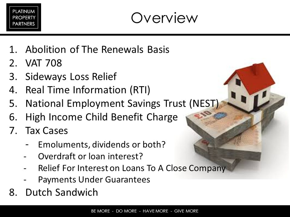 Overview Abolition of The Renewals Basis VAT 708 Sideways Loss Relief