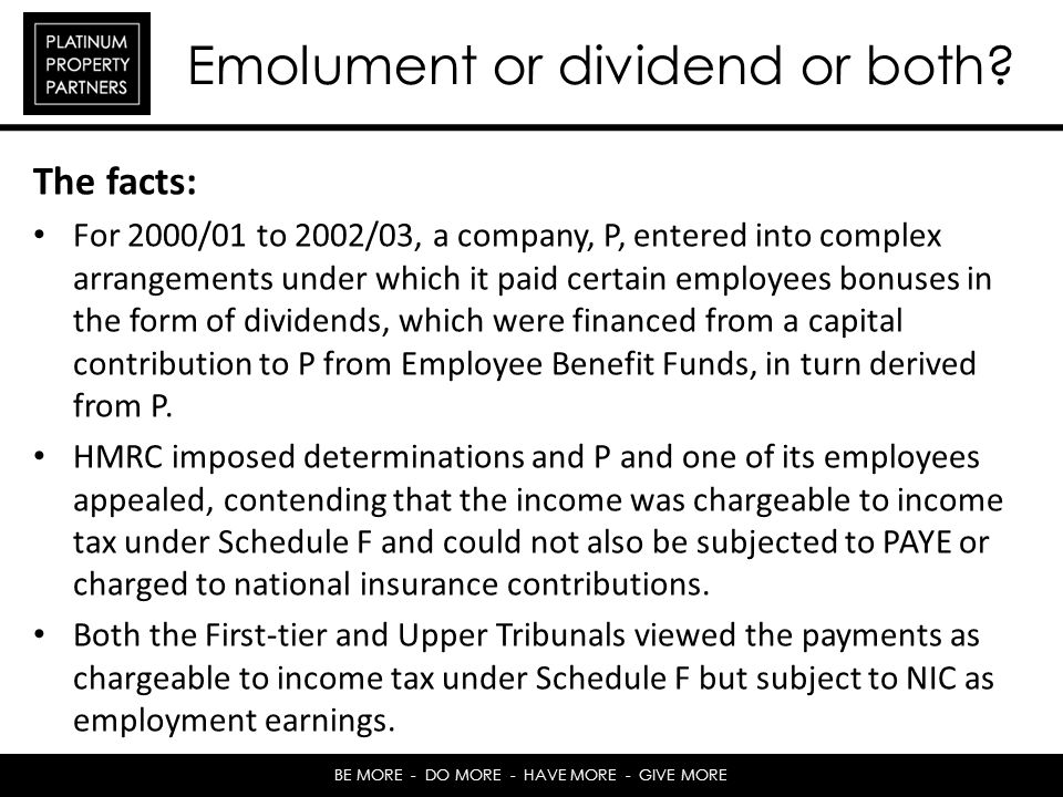 Emolument or dividend or both