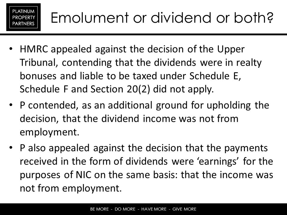 Emolument or dividend or both