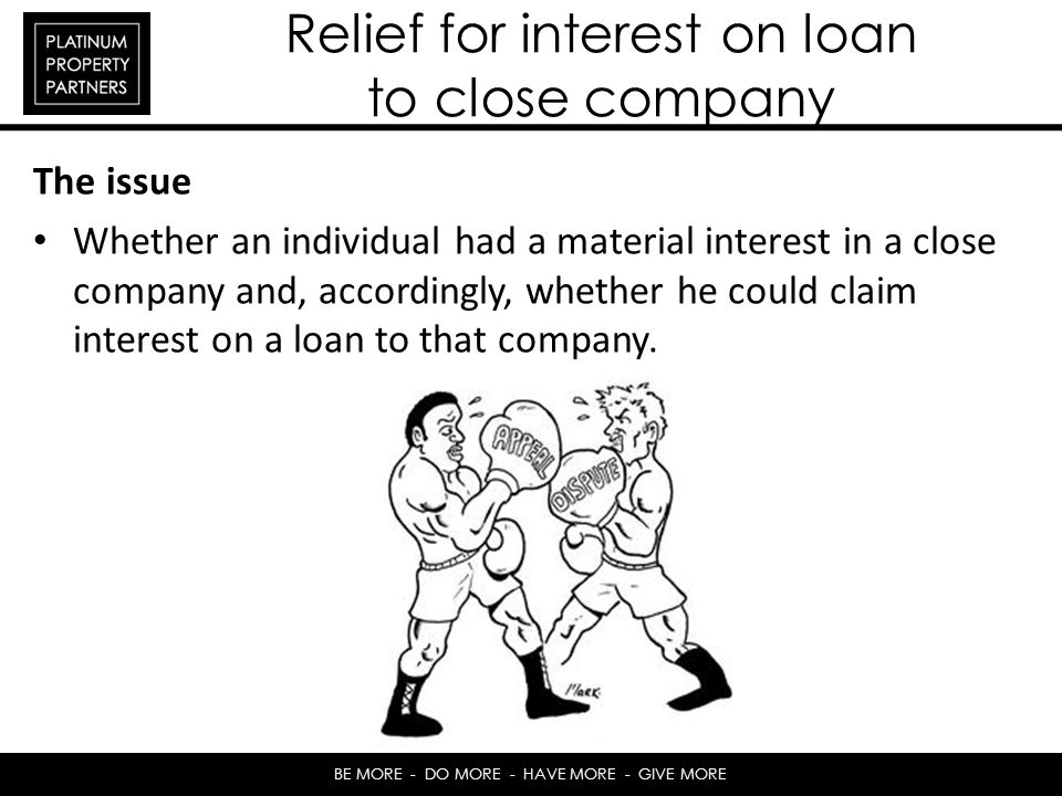 Relief for interest on loan to close company