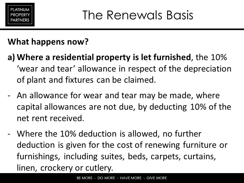 The Renewals Basis What happens now