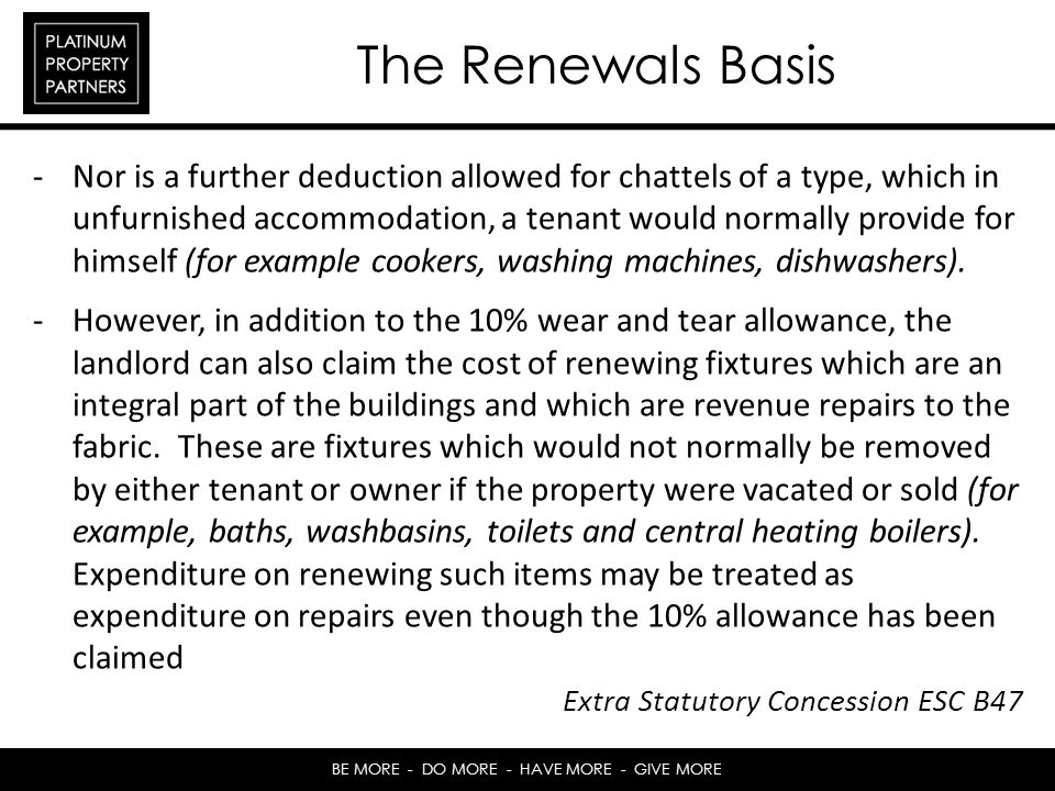 The Renewals Basis