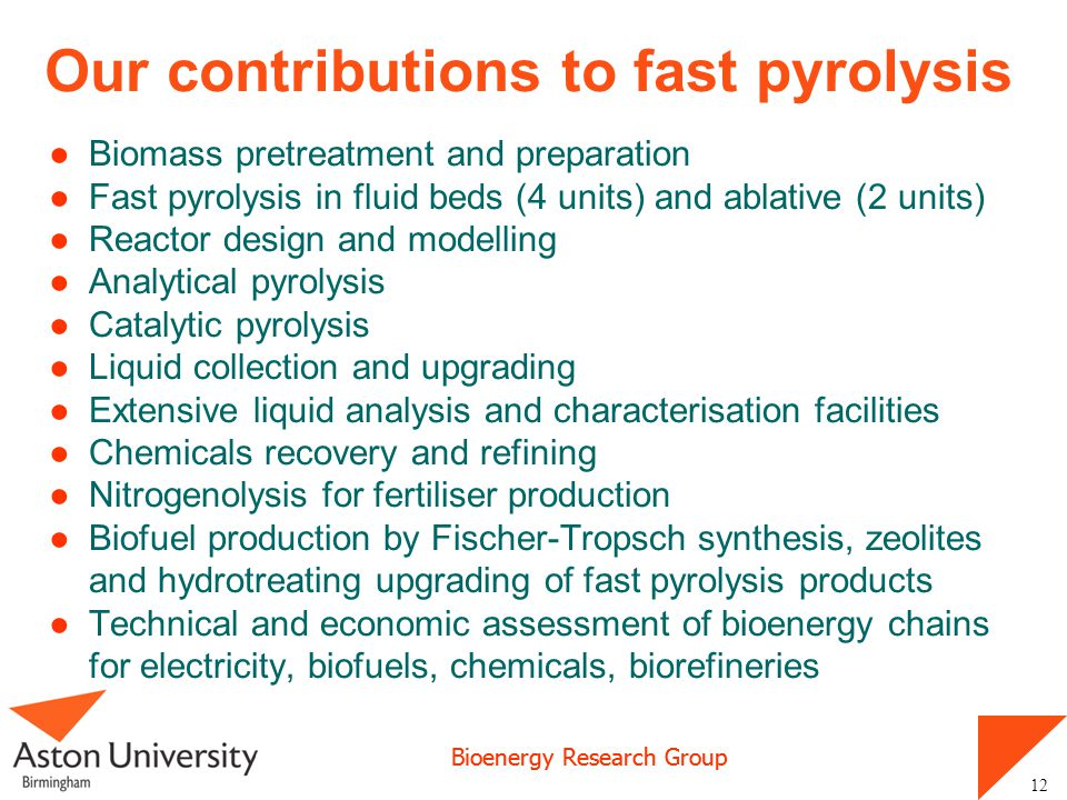 Our contributions to fast pyrolysis