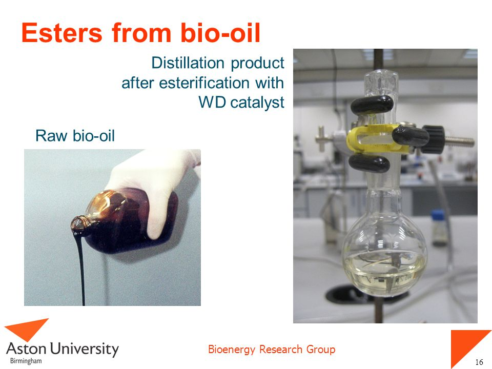 Esters from bio-oil Distillation product after esterification with WD catalyst Raw bio-oil