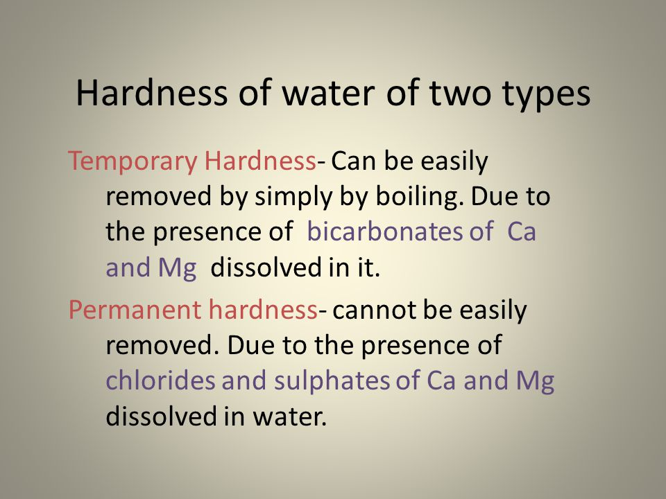 hardness removal Definition of hardness hardness in drinking water is defined as those minerals that dissolve in water having a positive electrical charge eventually the removal capacity of the resin media becomes exhausted and the resin will need to be regenerated.
