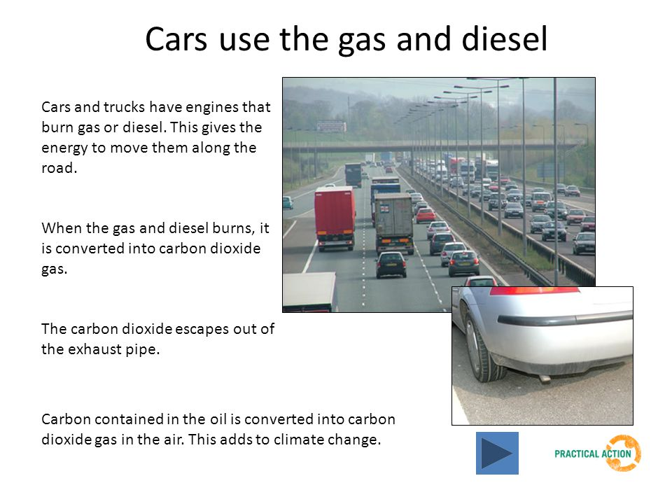 Cars use the gas and diesel