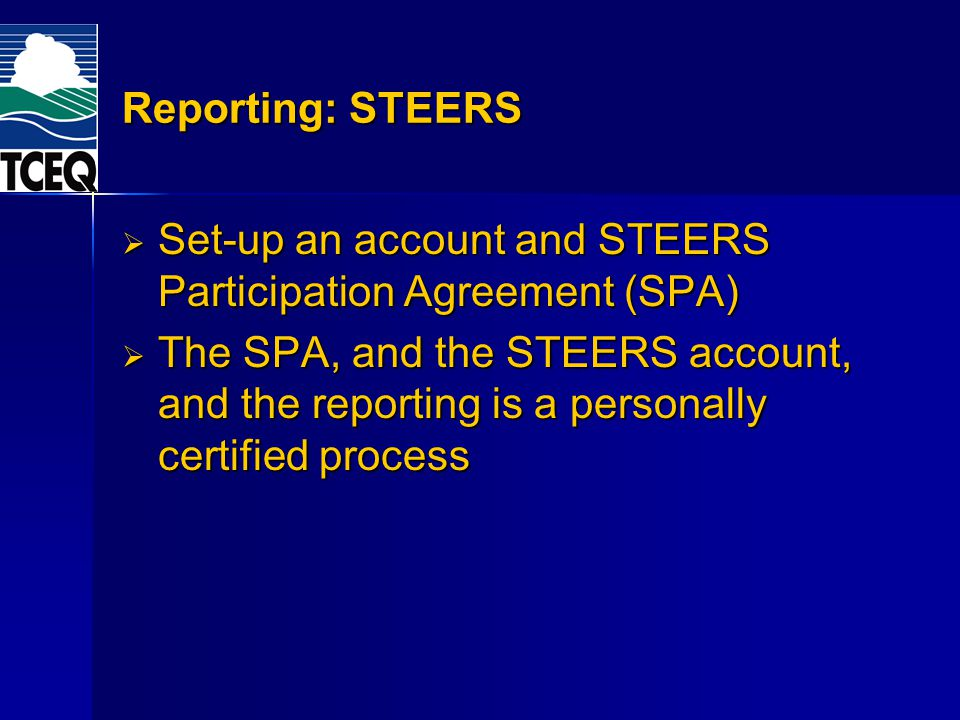 Set-up an account and STEERS Participation Agreement (SPA)