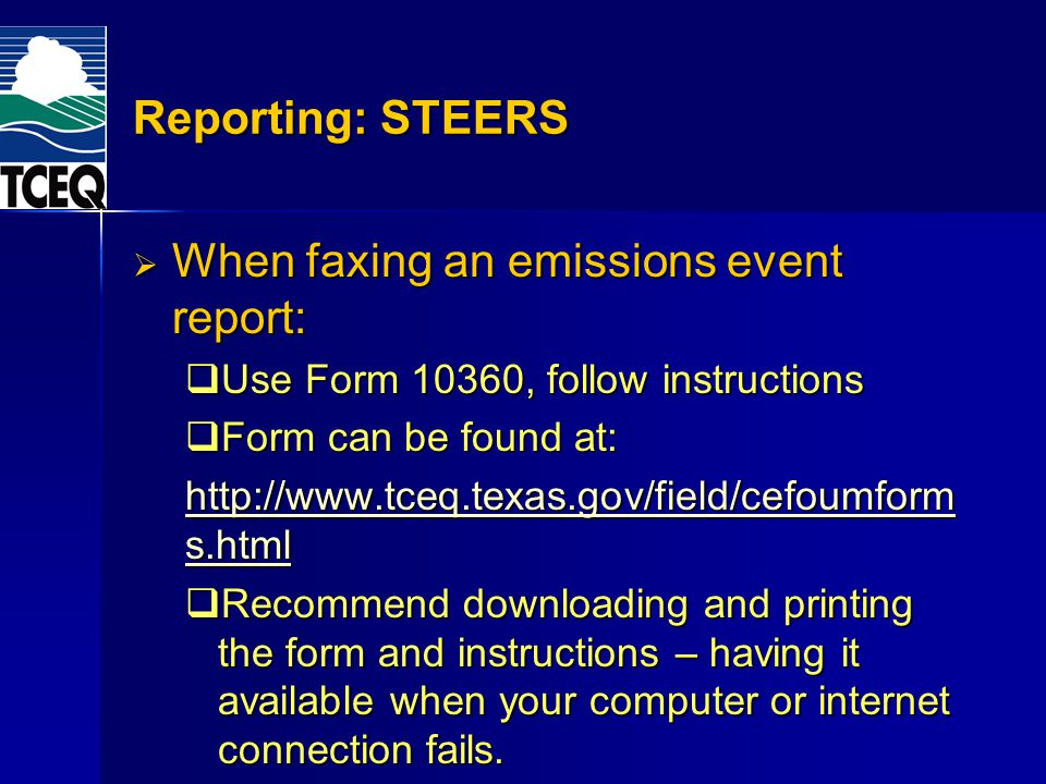 When faxing an emissions event report: