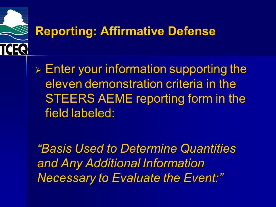 Reporting: Affirmative Defense