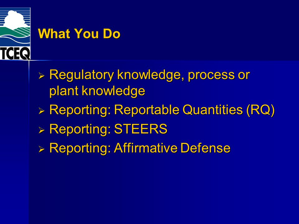 Regulatory knowledge, process or plant knowledge