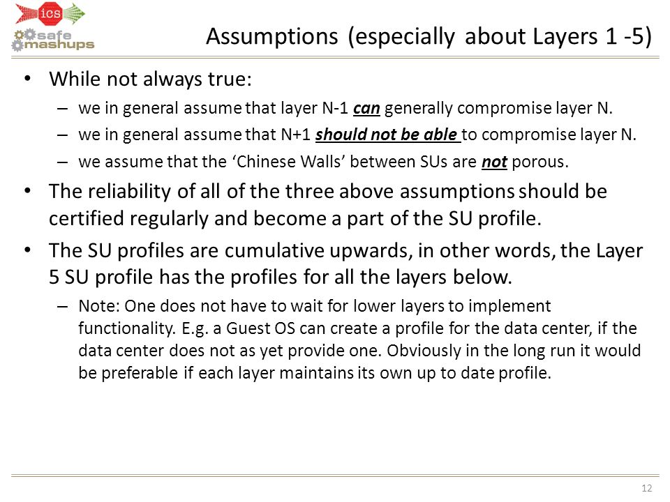 Assumptions (especially about Layers 1 -5)