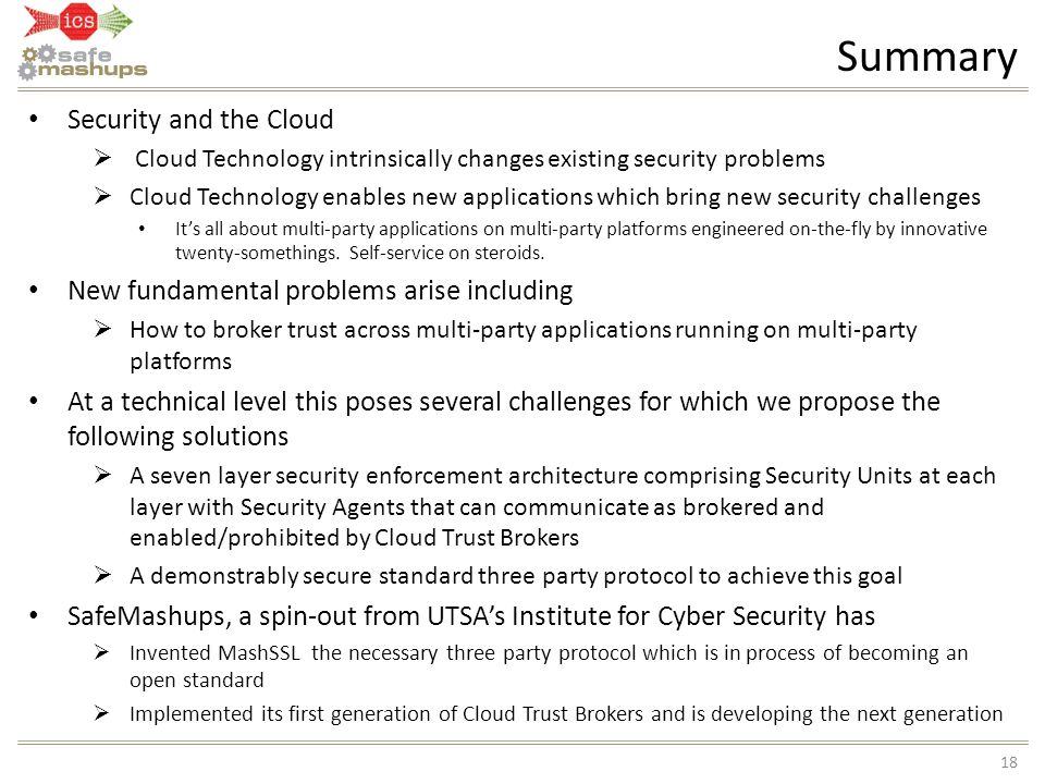 Summary Security and the Cloud