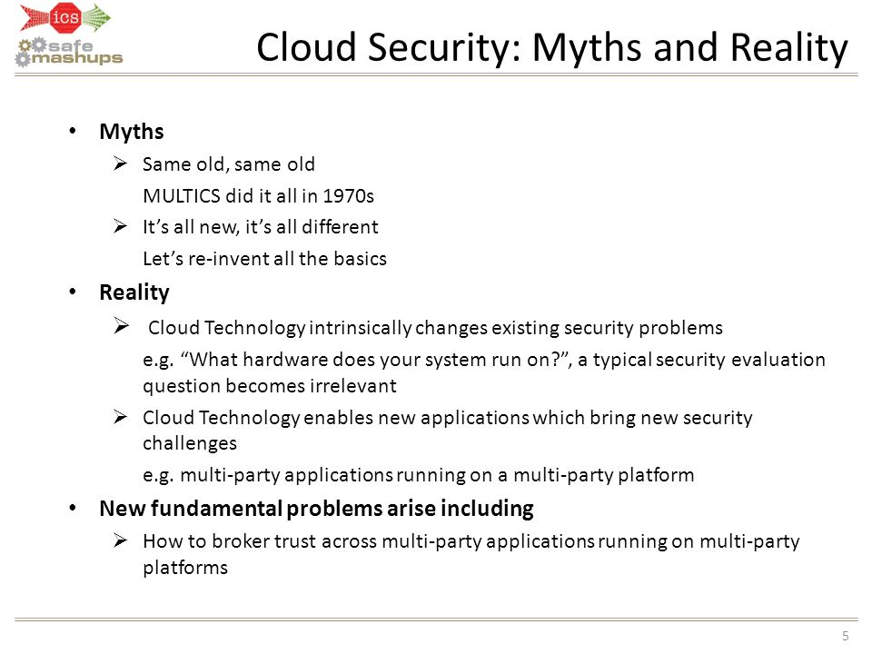 Cloud Security: Myths and Reality