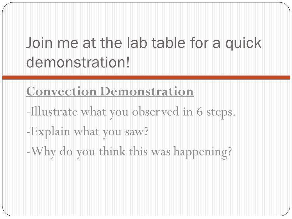 Join me at the lab table for a quick demonstration!