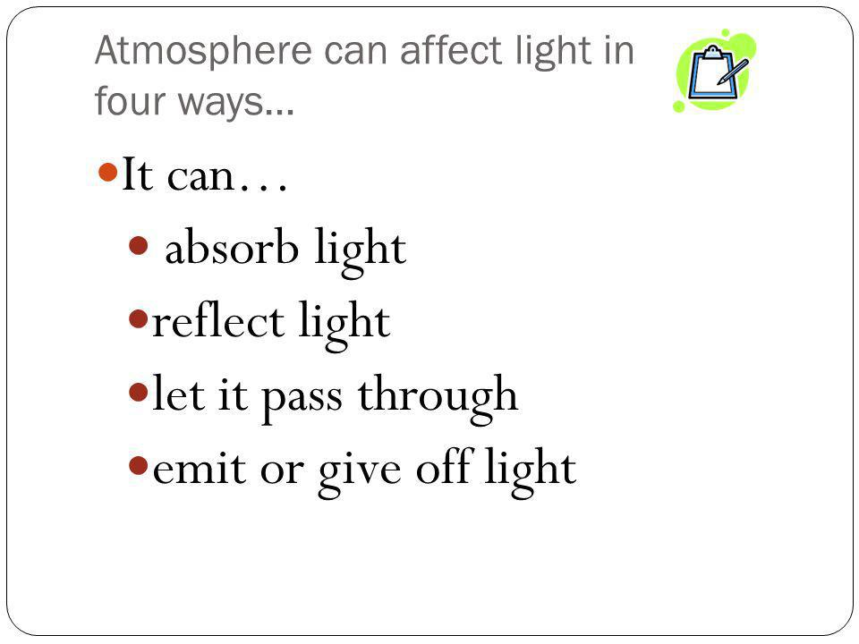 Atmosphere can affect light in four ways…