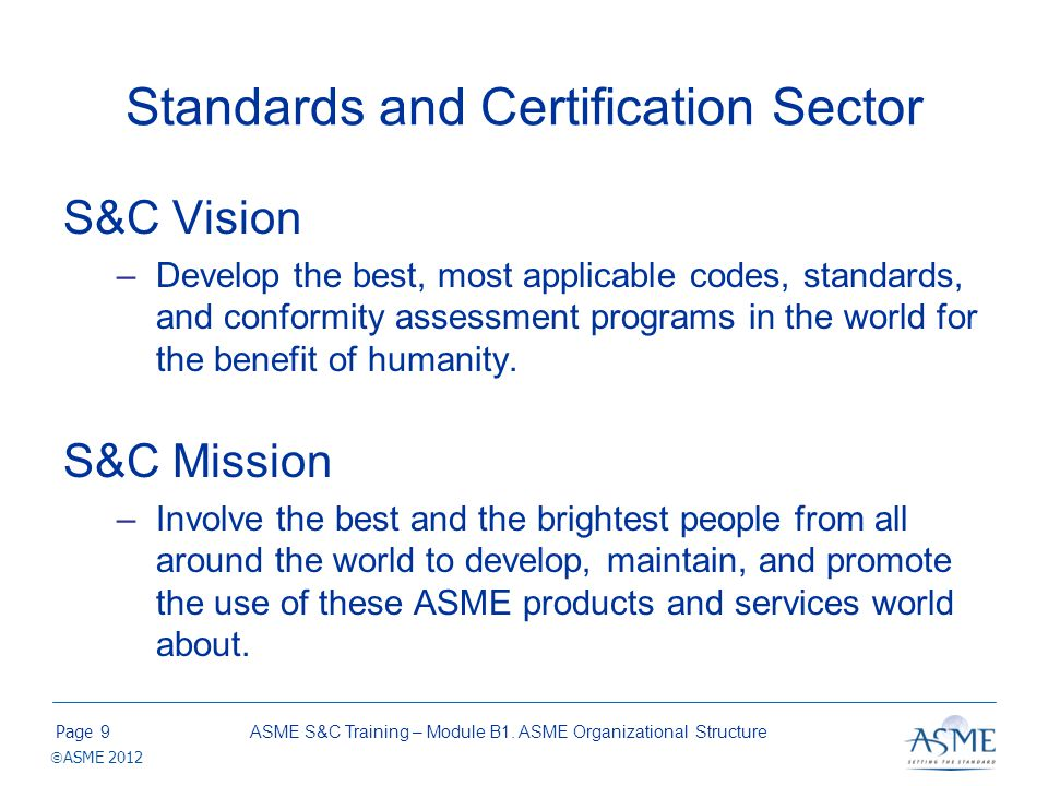 Standards and Certification Sector