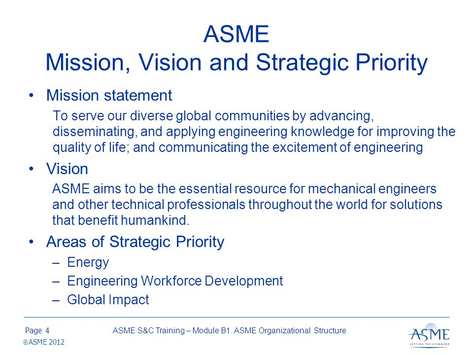ASME Organizational Structure