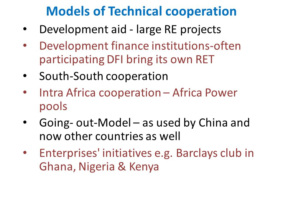 Models of Technical cooperation