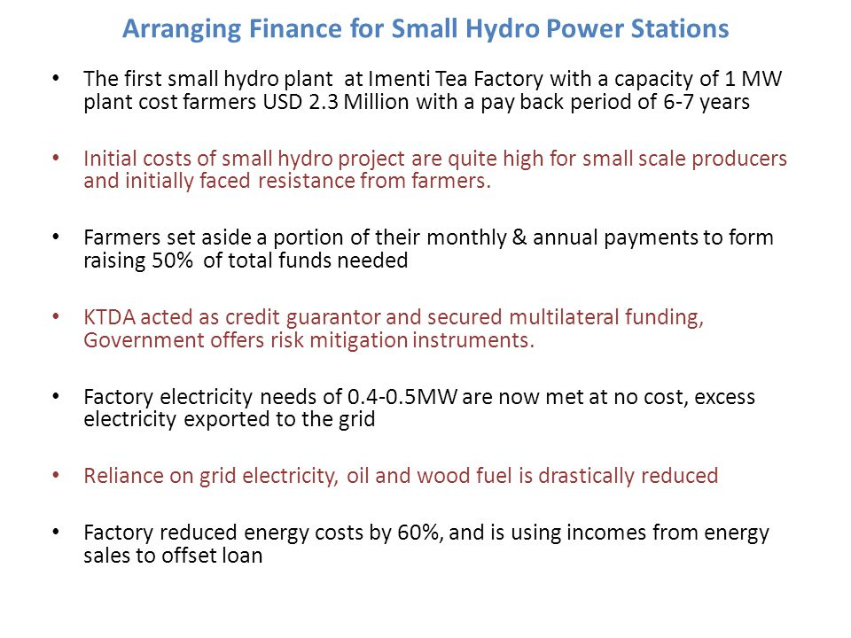Arranging Finance for Small Hydro Power Stations