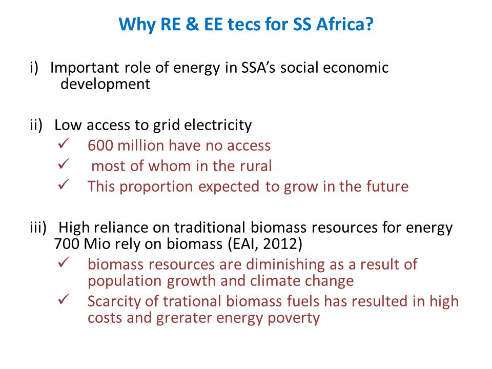 Why RE & EE tecs for SS Africa