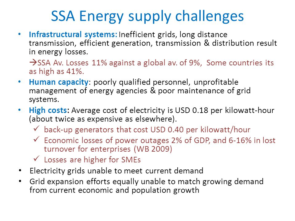 SSA Energy supply challenges