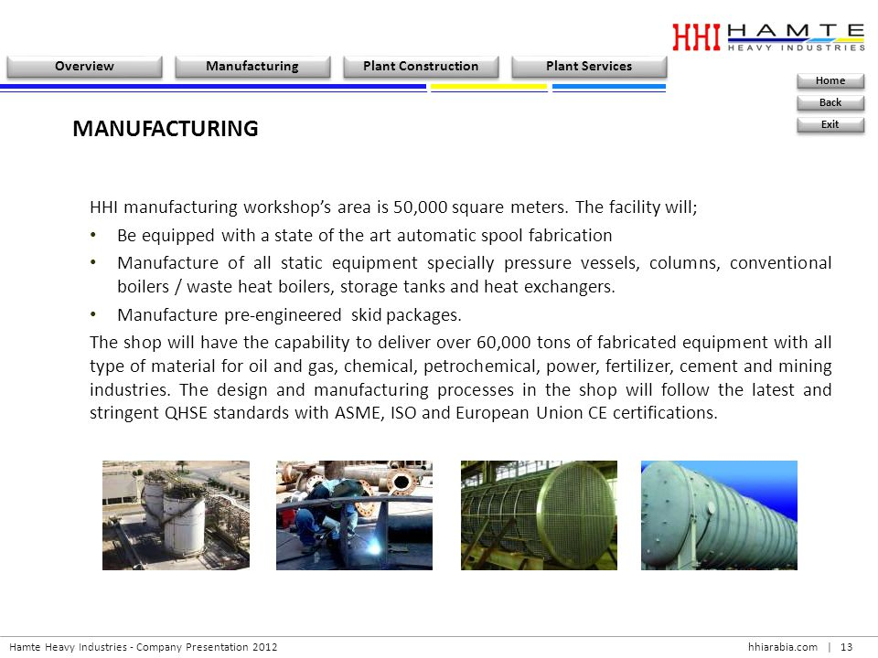 MANUFACTURING HHI manufacturing workshop's area is 50,000 square meters. The facility will;