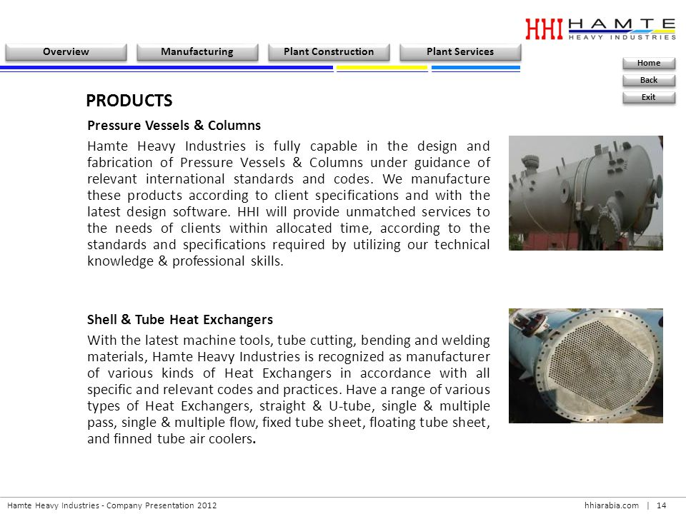 PRODUCTS Pressure Vessels & Columns