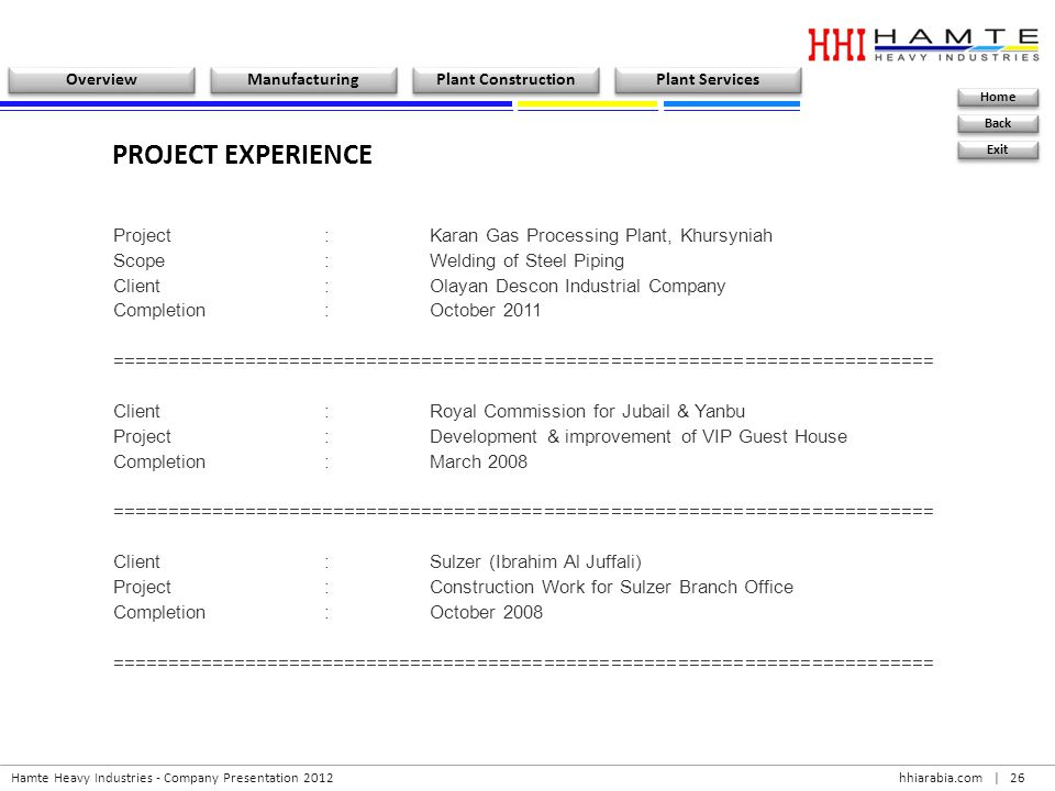 PROJECT EXPERIENCE Project : Karan Gas Processing Plant, Khursyniah