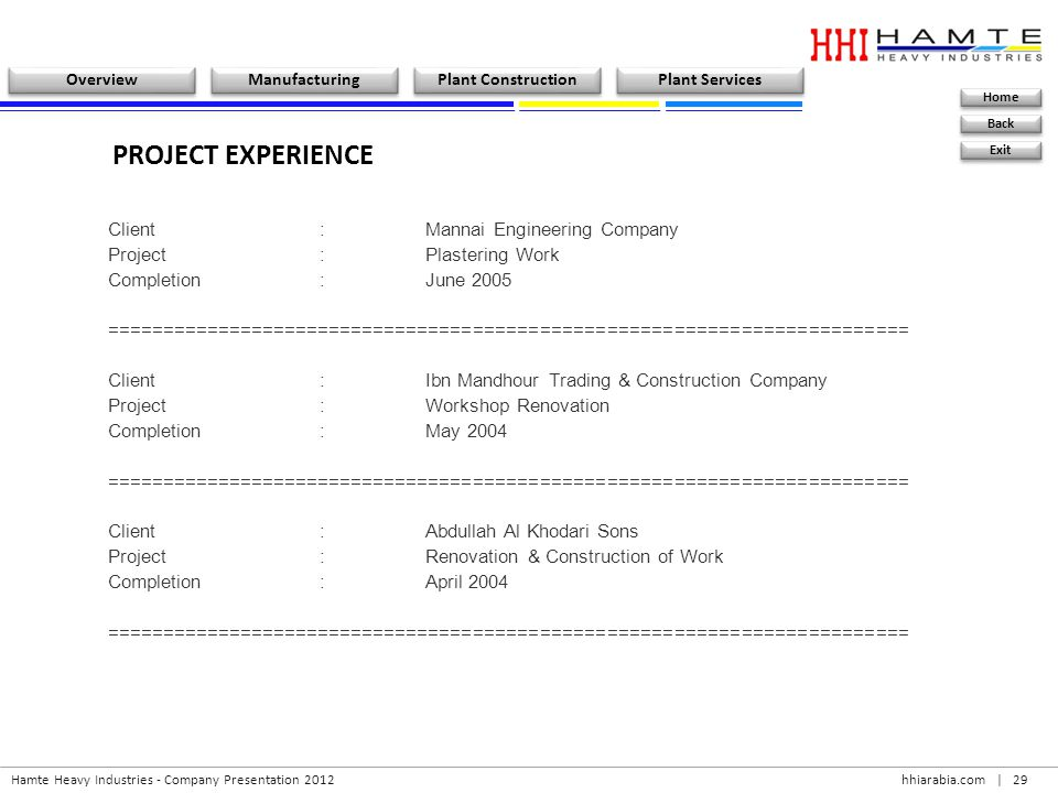 PROJECT EXPERIENCE Client : Mannai Engineering Company