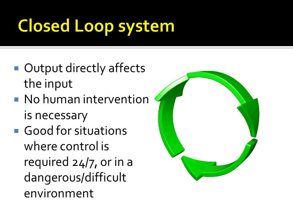 Closed Loop system Output directly affects the input
