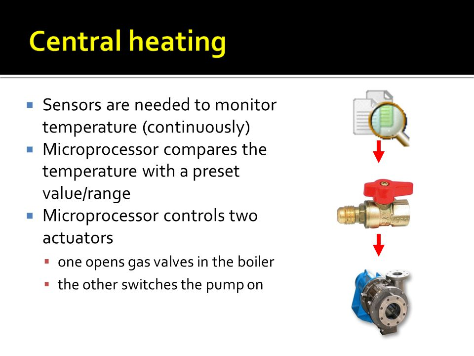 Central heating Sensors are needed to monitor temperature (continuously) Microprocessor compares the temperature with a preset value/range.