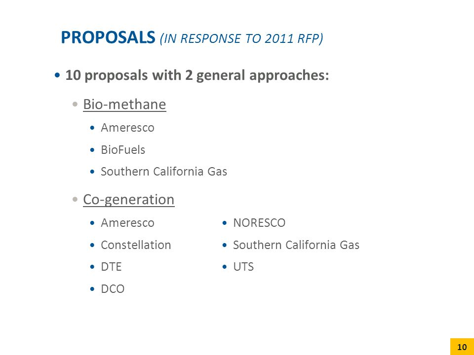 Proposals (in response to 2011 RFP)