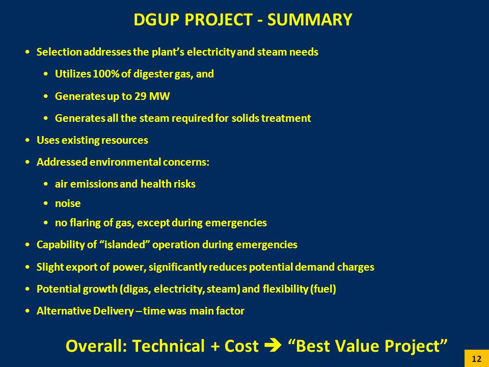 Overall: Technical + Cost  Best Value Project