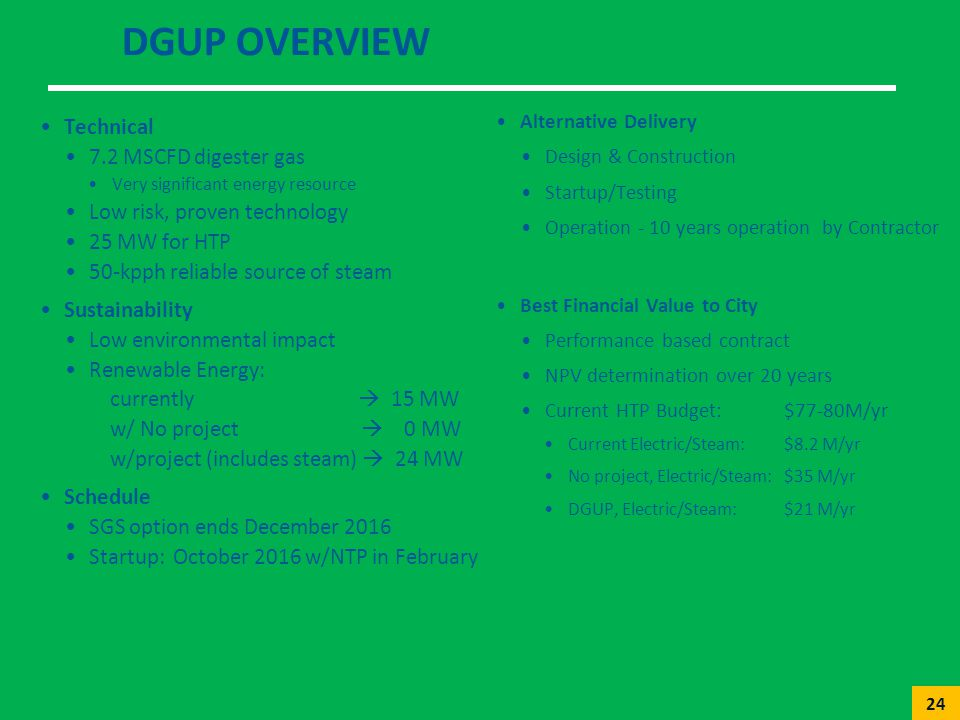 DGUP Overview Technical 7.2 MSCFD digester gas