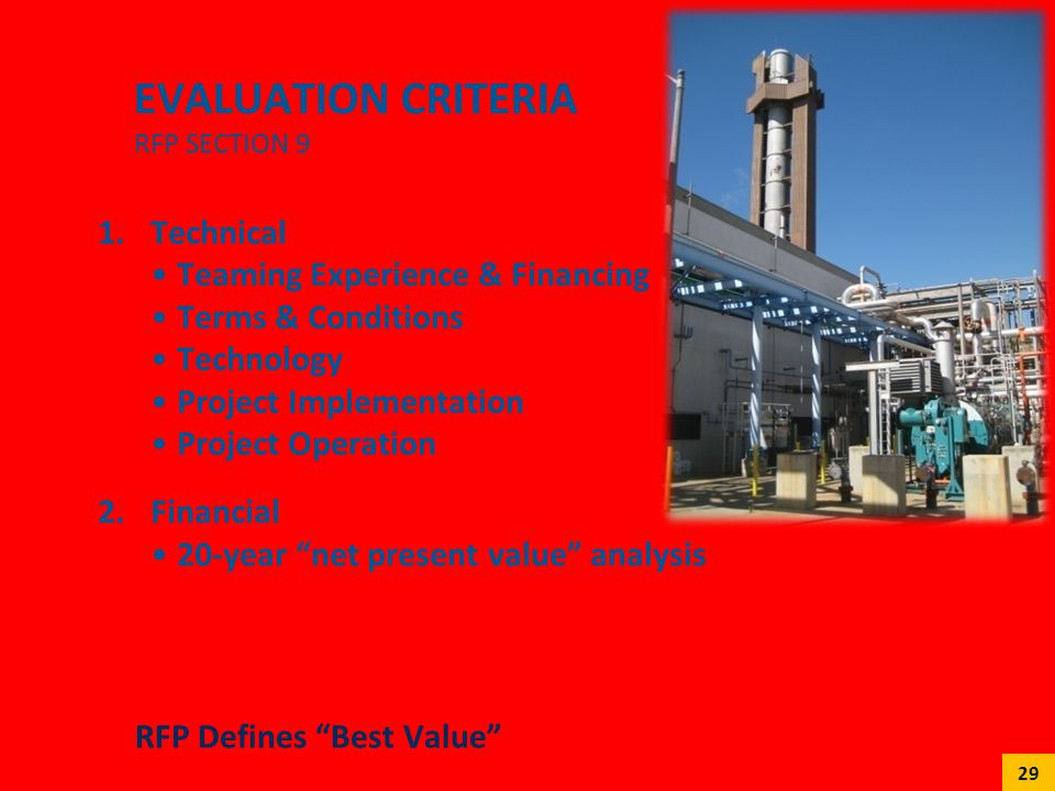 Evaluation criteria RFP Section 9