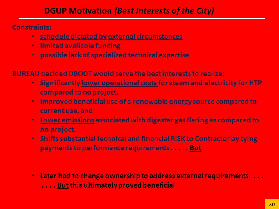 DGUP Motivation (Best Interests of the City)