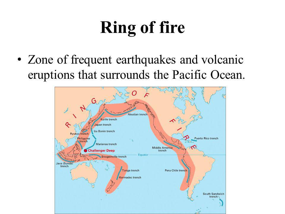 Ring of fire Zone of frequent earthquakes and volcanic eruptions that surrounds the Pacific Ocean.