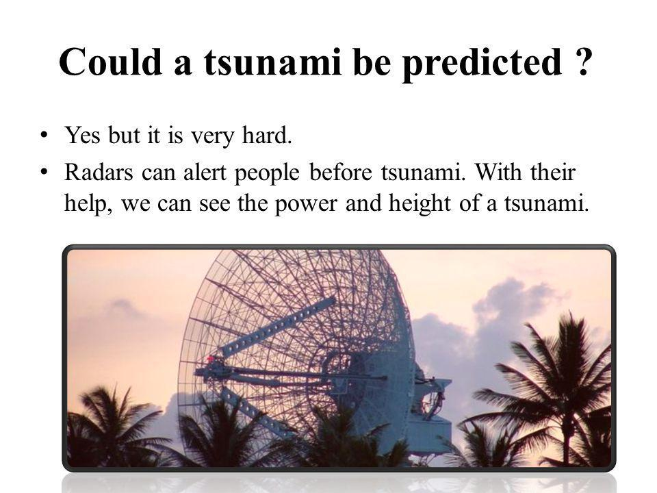 Could a tsunami be predicted