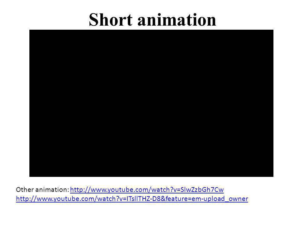 Short animation Other animation: http://www.youtube.com/watch v=SlwZzbGh7Cw http://www.youtube.com/watch v=ITsllTHZ-D8&feature=em-upload_owner.