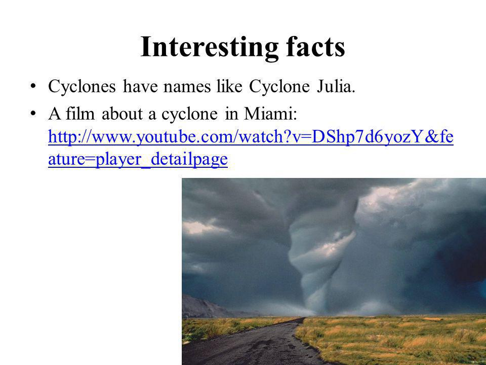 Interesting facts Cyclones have names like Cyclone Julia.