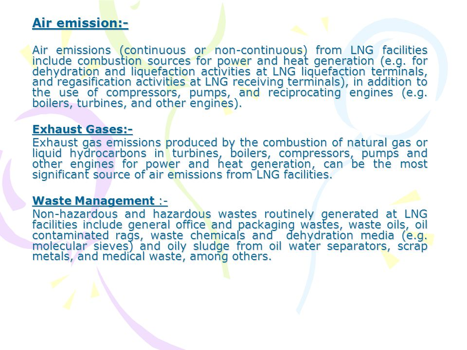 Air emission:-