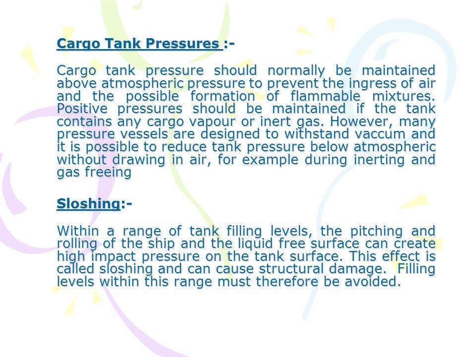 Cargo Tank Pressures :-