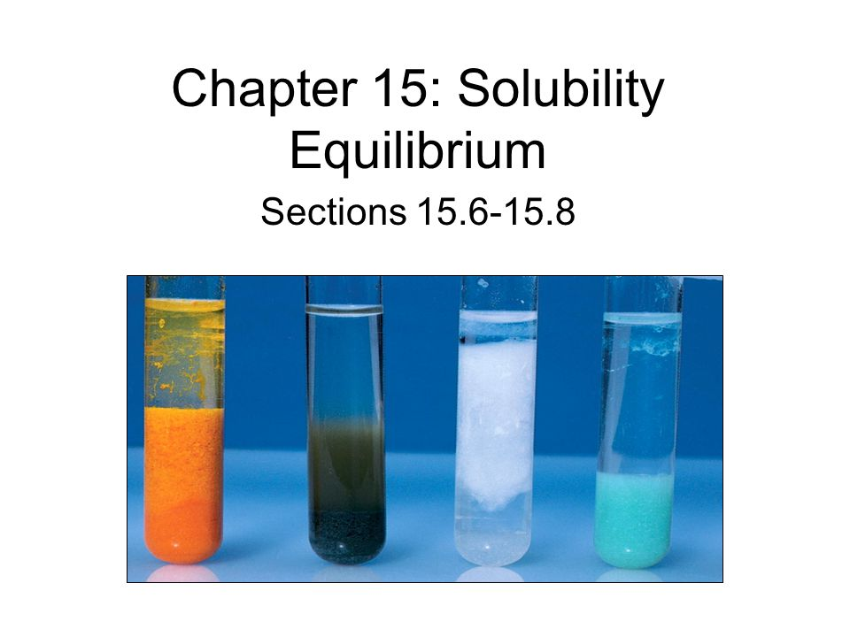 Chapter 15: Solubility Equilibrium