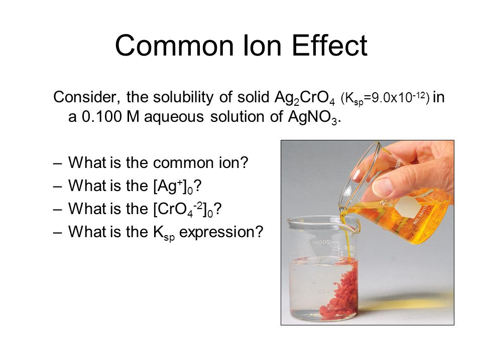 Common Ion Effect Consider, the solubility of solid Ag2CrO4 (Ksp=9.0x10-12) in a 0.100 M aqueous solution of AgNO3.