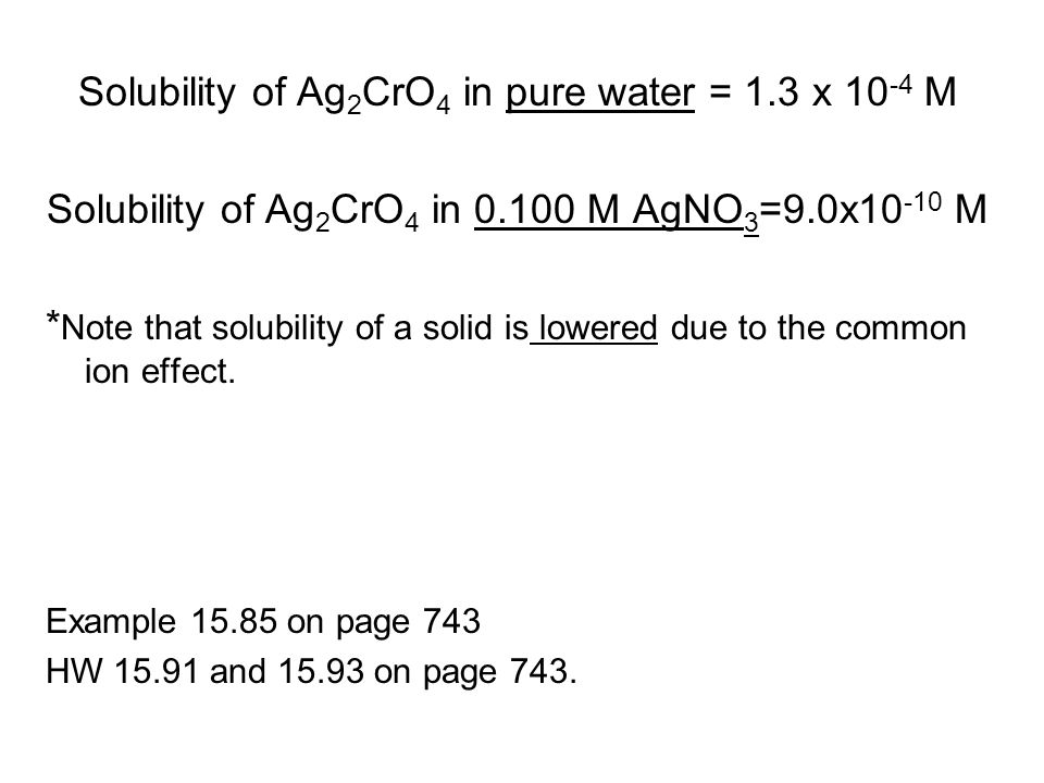 Solubility of Ag2CrO4 in pure water = 1.3 x 10-4 M