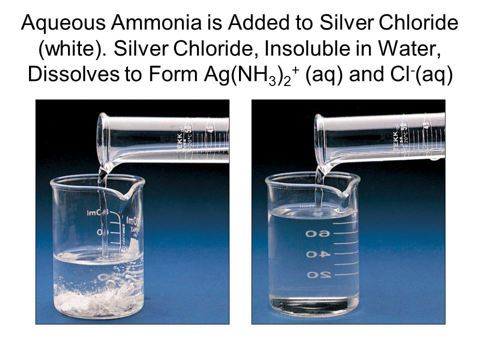 Aqueous Ammonia is Added to Silver Chloride (white)