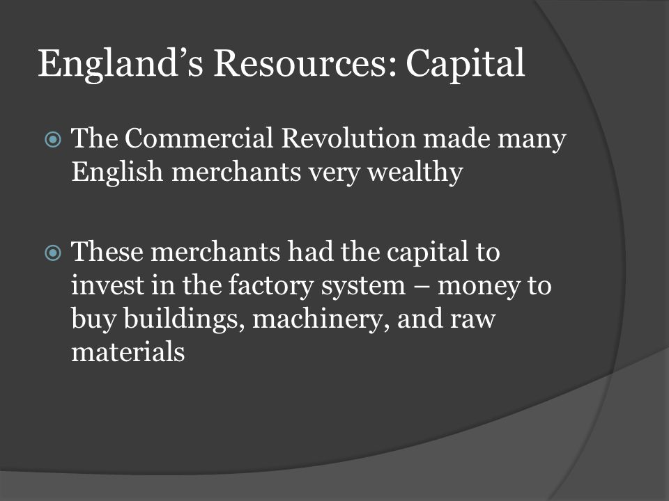 England's Resources: Capital