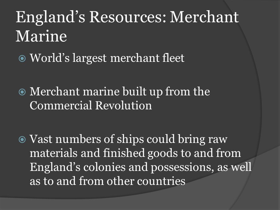 England's Resources: Merchant Marine