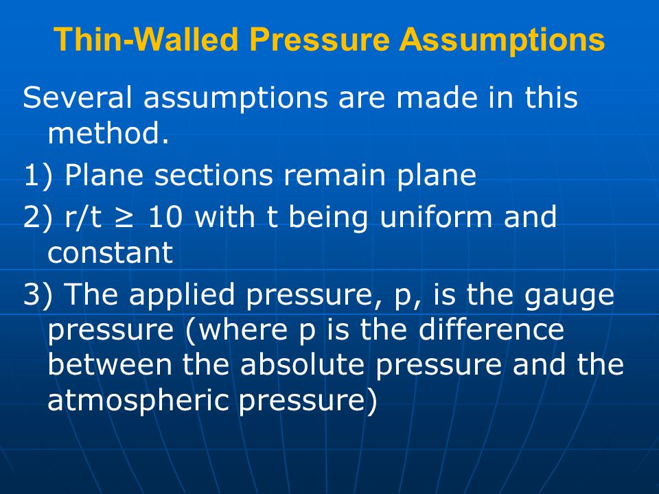 Thin-Walled Pressure Assumptions